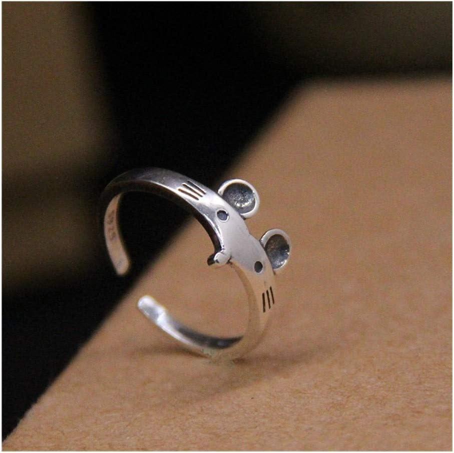 QLBF Joyería de plata esterlina simple anillo punk Ratón de plata S925 plata anillos de plata esterlina anillo ajustable S925 de sexo femenino linda del zodiaco de plata tailandesa retro anillo de pla