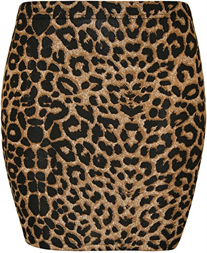 CHOCOLATE PICKLE New Mini Bodycon Jersey Stretch Printed Skirts ( Brown Leopard, XL ) (Skirt Leopard Stretch)