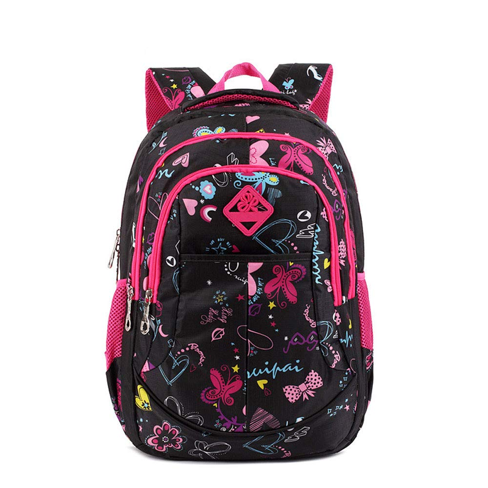 Black pink TLMY Trend Flower Backpack Student Campus Bag backpack (color   Black pink)