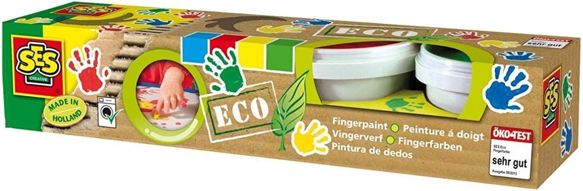 SES Creative- Set de Cuatro Pinturas para Dedos ecológicas para niños SES, Multicolor (24926)