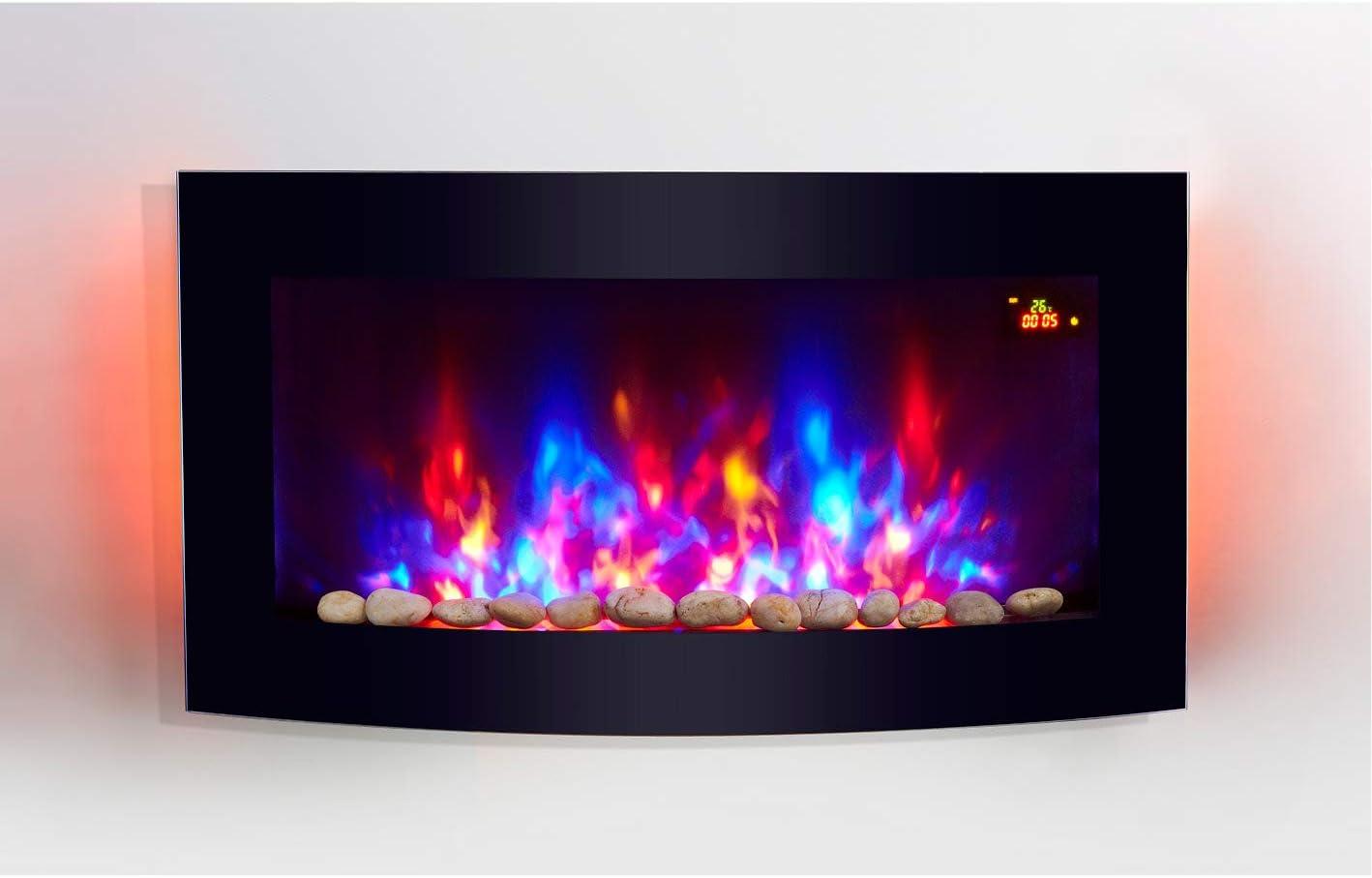 Tooltime - Estufa de pantalla para pared con efecto chimenea (cristal, 2 kW, 7 luces de fondo LED), diseño curvado, color negro: Amazon.es: Juguetes y juegos