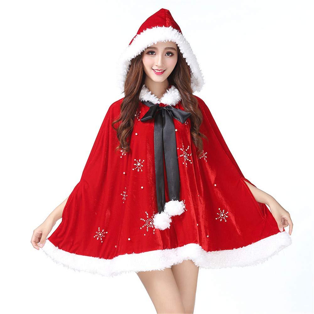 Qianmome Christmas Costume Mrs. Santa Claus Cardigan Velvet Hooded Short Cape Cloak