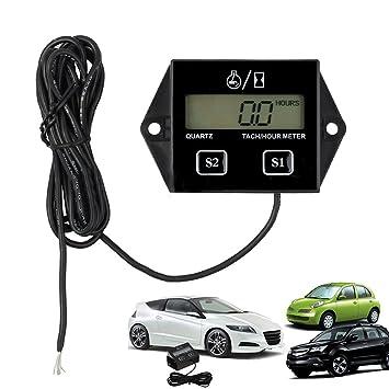 Digital LCD de la motocicleta Racing Bujía Motor Tach Hour Meter tacómetro Gauge: Amazon.es: Electrónica