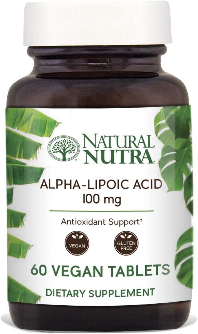 Natural Nutra R-Alpha Lipoic Acid (Alfa-Lipoic), with R-Fraction ALA, Antioxidant and Blood Sugar Support, 100 mg, 60 Vegan and Vegetarian Tablets