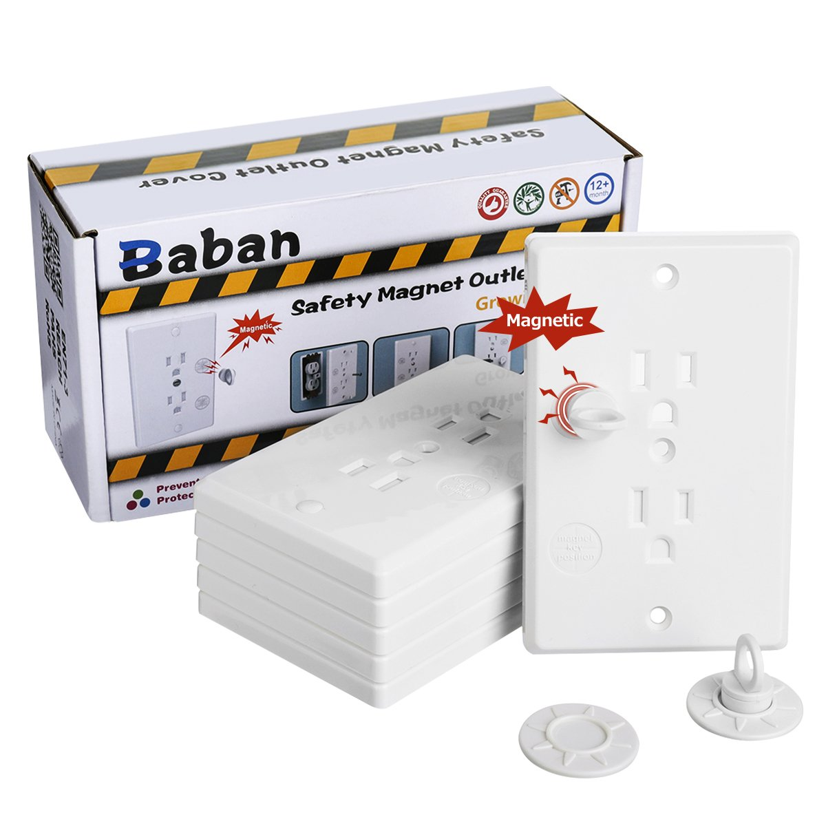 Baby Safety Outlet Cover, Baban Upgrade Baby Socket Cover Set with Magnetic Key, Universal Self-Closing Child Guards Socket Plugs Protector, Flame Retardant ABS, Standard US Regulation by Baban