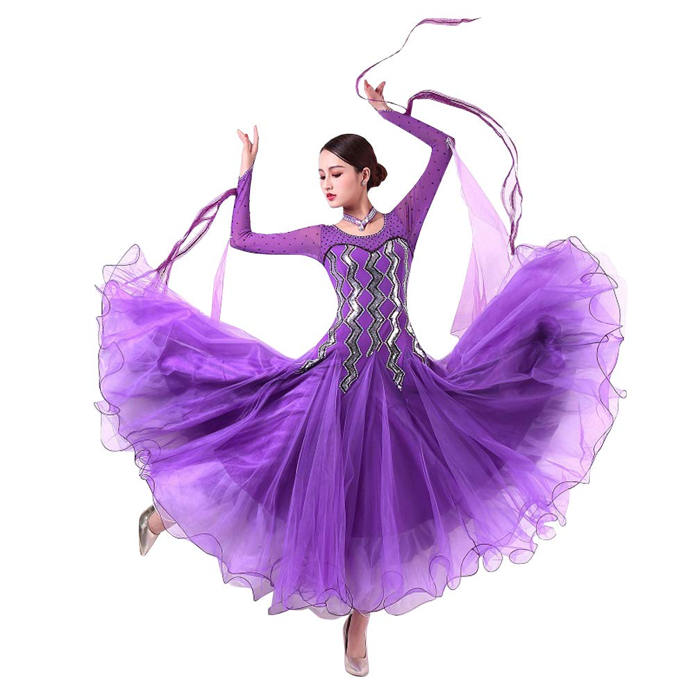 【正規品質保証】 LNIGHT 長袖 豪華な紫の社交ダンスドレス モダンダンス 長袖 パープル ワンピース レッスン着 フラメンコ ルンバ B07PDPCJT2 サンバ ワルツ専用ドレス スタンダード練習着 競技用 発表会用演出服 B07PDPCJT2 Medium パープル パープル Medium, モリタムラ:ba2ccd2c --- a0267596.xsph.ru