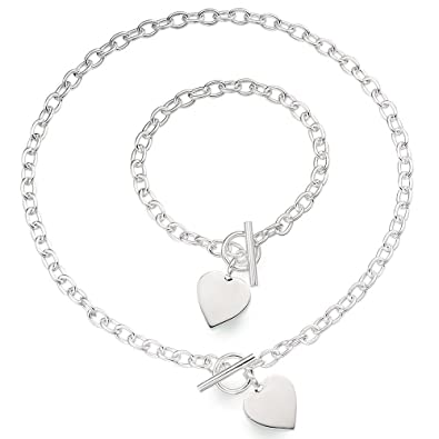 9b300ccbf Heart Pendant Toggle T Bar Rolo Tag Necklace and Bracelet Set Sterling  Silver 925 with Box: Amazon.co.uk: Jewellery