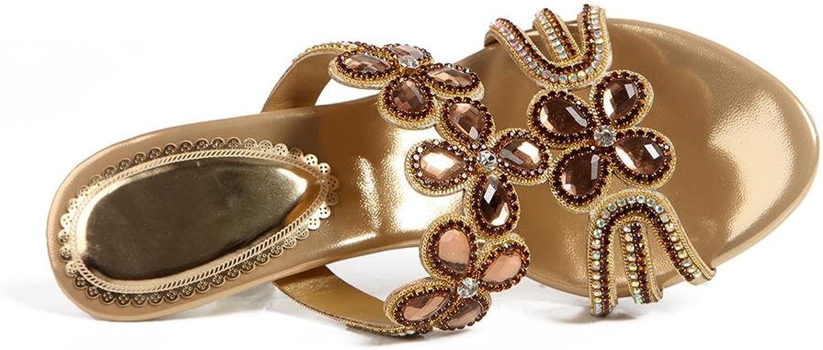 Syyan Womens PU Rhinestones Open Toe Handmade Pump Dress Sandals Banquet Silver