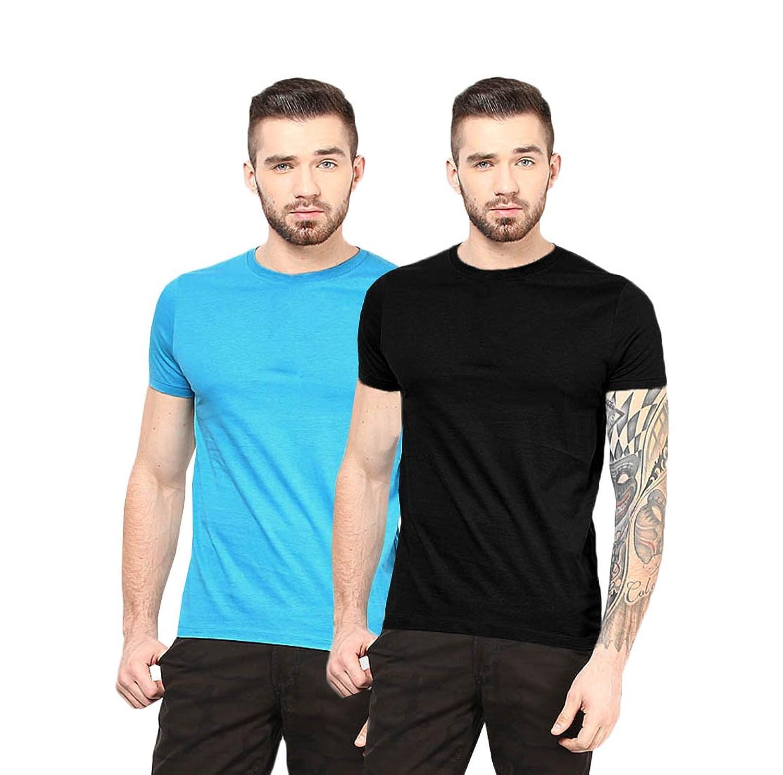 Gallop Mens Cotton T-Shirt combo of 2 sol-com-blk-turq