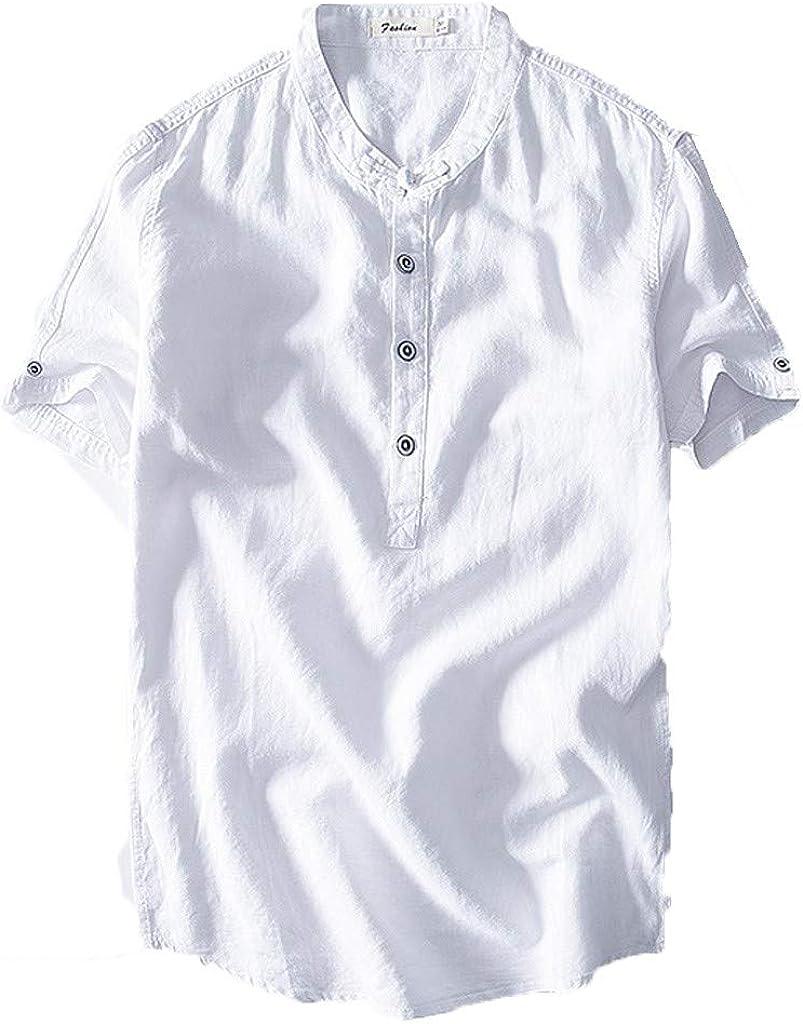 Vectry - Camisa para hombre, manga corta con botón de algodón, color liso blanco M: Amazon.es: Ropa y accesorios