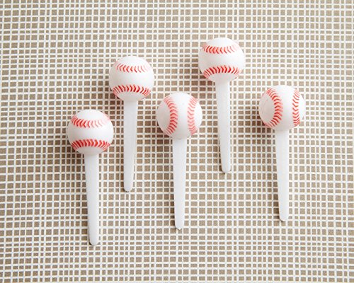 Baseball Ball Cupcake Topper Novelties - (12) Plastic 3D Baseball Picks (Cake Topper Sox Red)