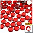 The Crafts Outlet 144-Piece Flat Back Round Rhinestones, 10mm, Ruby Red