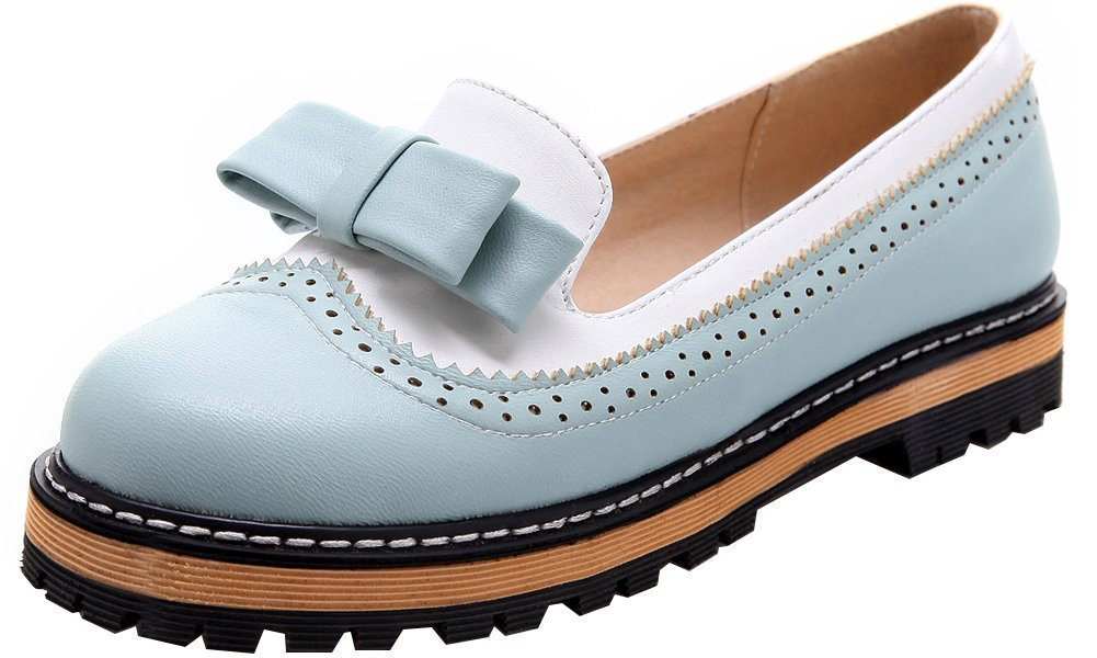 Women's Sweet Cute Leather Round Toe Platform Bow Blue Oxfords Shoes 9 B (M) US
