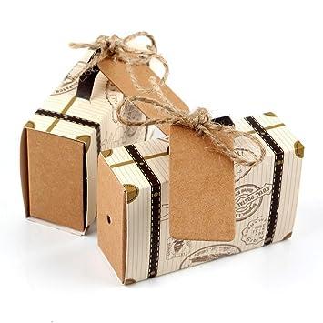 xiaolanwelc @ 20pcs Boda Favor cajas de Chocolate Vintage Mini maleta caja de Candy bolsas de dulces para boda regalos y Regalos Decoración: Amazon.es: ...