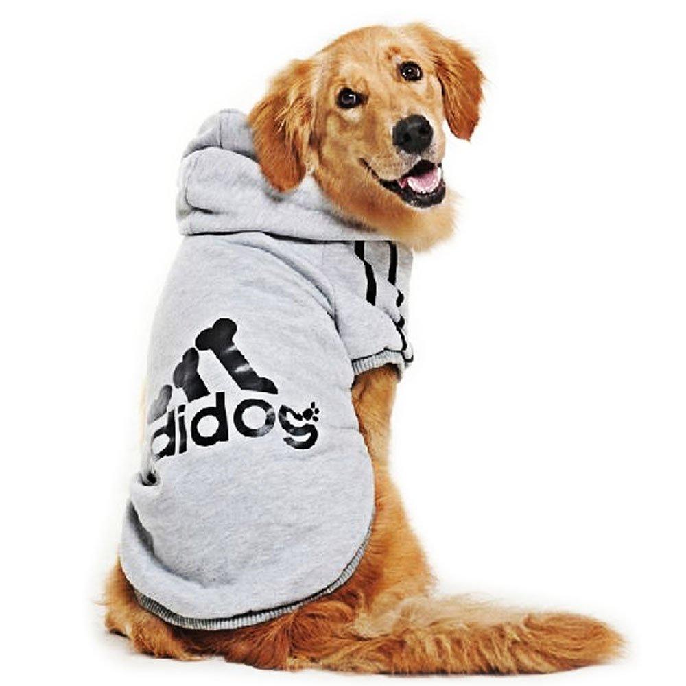 Eastlion adidog Large Dog Warm Hoodies Coat Clothes Sweater Pet Puppy T Shirt Gray 5XL