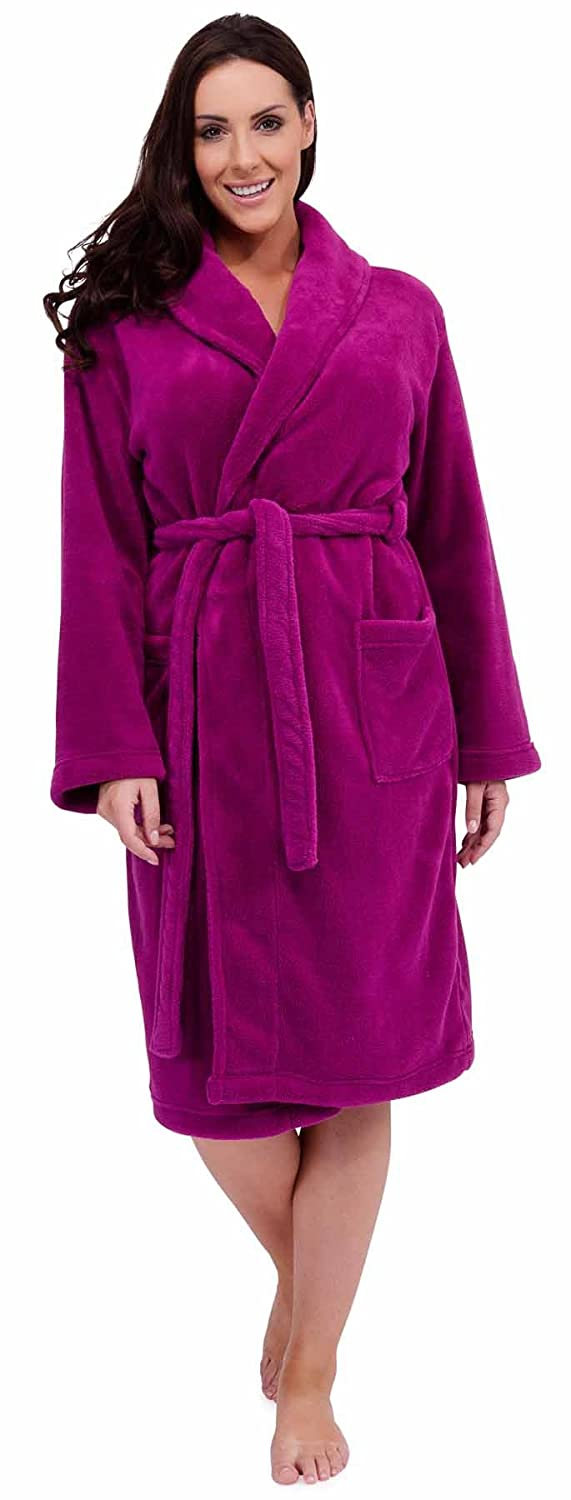 Ladies Hooded Embosssed Rose Stamp Bath Robe House Coat Dressing ...