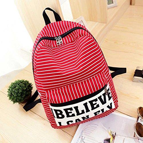 Clode® Mujeres lona rayas viaje mochila mochila mochila mochila escuela bolsa Rojo