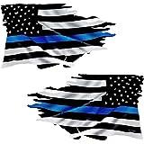 "Thin Blue Line Tattered Flag Sticker ""MIRRORED"" 2 Pack #FS299LR LAMINATED Police USA Vinyl Decal Lives Matter Car Truck Bumper Winshield Design"