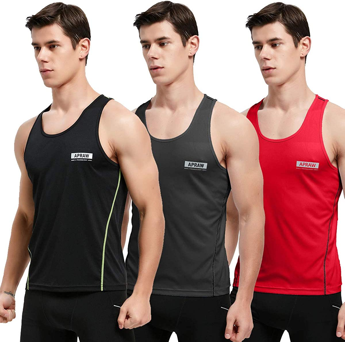 APRAW Men's 3 Pack Quick Dry Tank Tops Compression Muscle Shirts Training Compression Baselayer