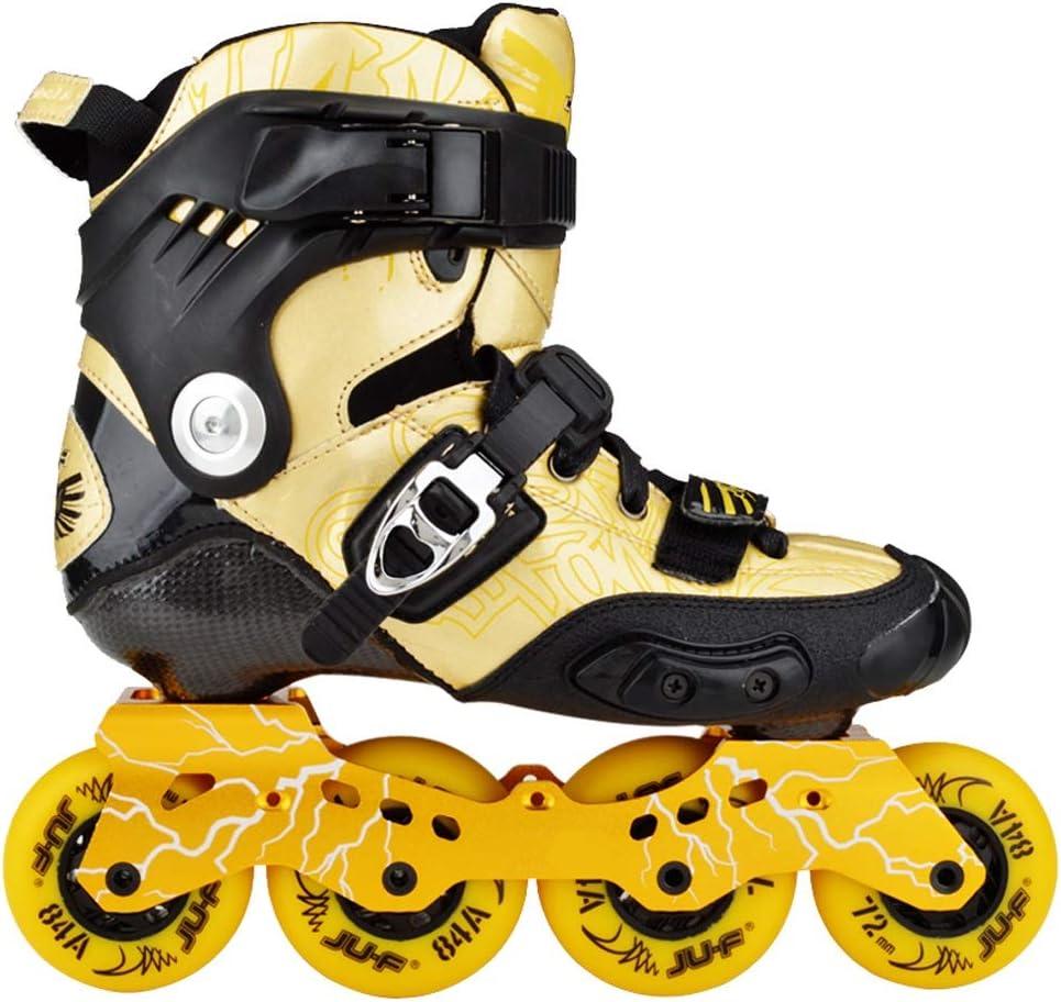 XZ15 ローラースケート、スケートカーボン、ブレーキフラットシューズ、メンズと女性のローラーシューズ、大人ファンシーインラインスケート、子供のスケート (Color : ゴールド, Size : 41) ゴールド