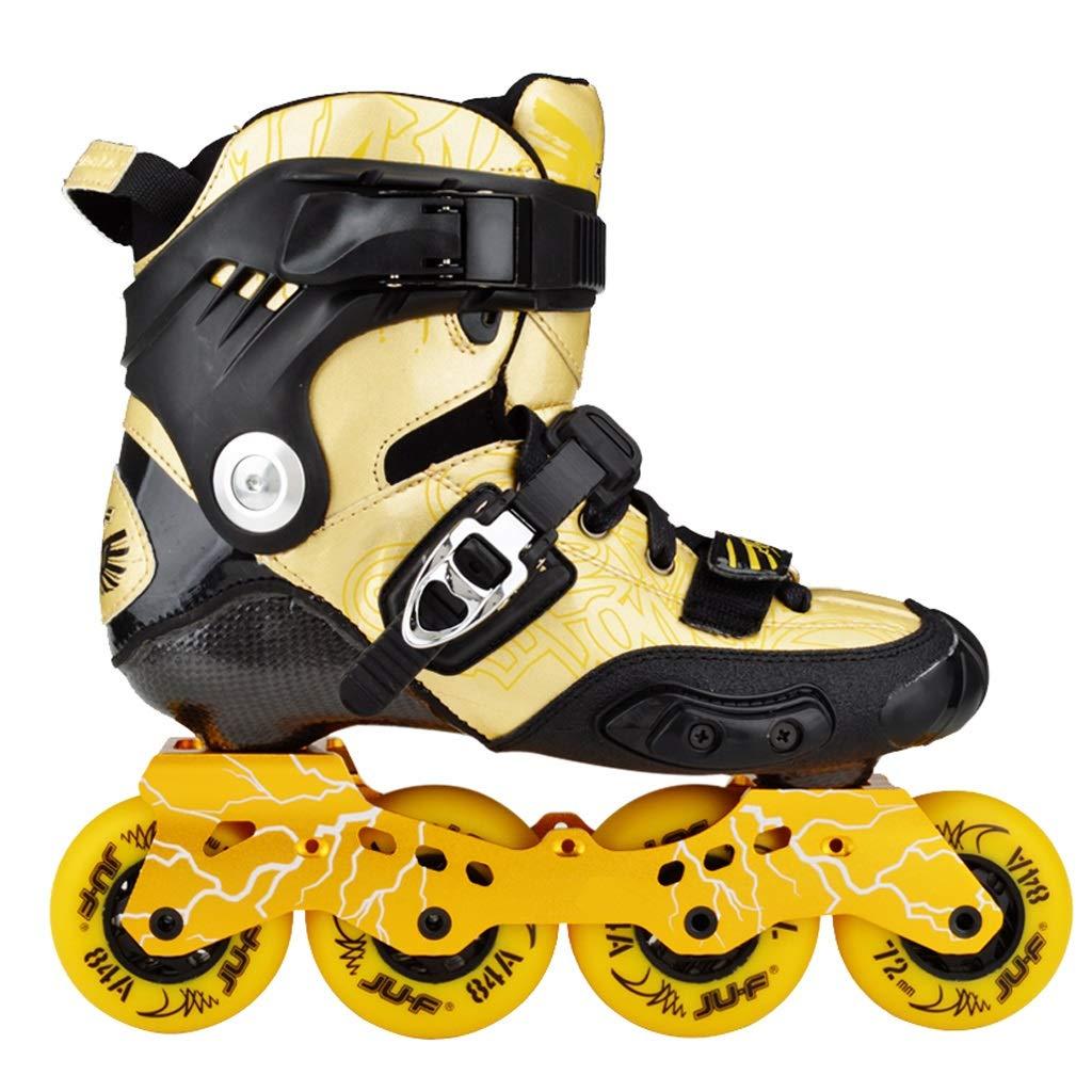 LIUXUEPING ローラースケート、 カーボンスケート、 ブレーキフラットシューズ、 男性と女性のローラーシューズ、 アダルトファンシーインラインスケート、 子供用スケート B07GLN8FCL 34|ゴールド ゴールド 34