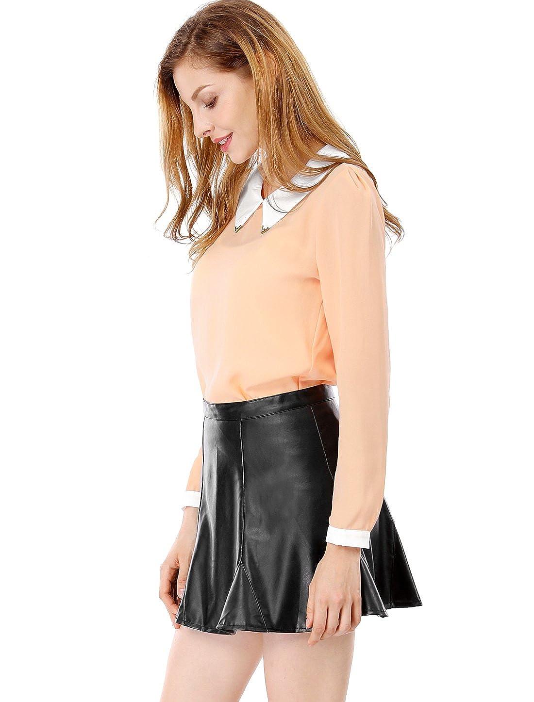 Allegra K Mujer Muñeca Cuello Manga Larga Jersey Camisa Gasa, Pale Pink, 46: Amazon.es: Ropa y accesorios