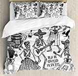 Mexican Decorations Duvet Cover Set by Ambesonne, Dead Dancers Themed Woman and Man Skeleton Icon Playing Music Design, 3 Piece Bedding Set with Pillow Shams, King Size, Black White