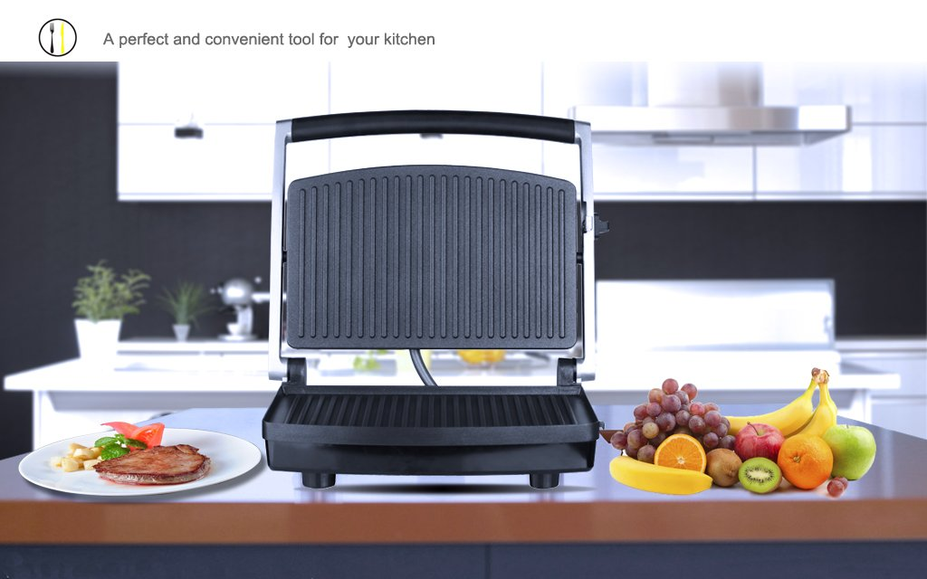 ZZ SM303 Burger Grill, Sandwich Maker, Panini Press, Steaks Griller or Grill, Silver by ZZ (Image #7)