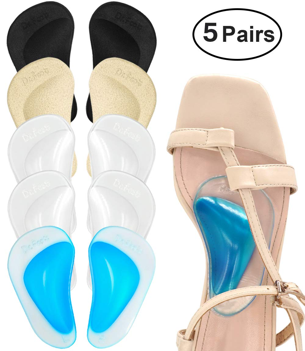 Dr. Foot Plantar Fasciitis Arch Support Shoe Insoles 5 Pairs, Thicken Gel Arch Pads for Flat Feet - Self-Adhesive Arch Cushions Inserts for Men and Women (Clear*2+Black+Beige+Blue) by Dr.Foot