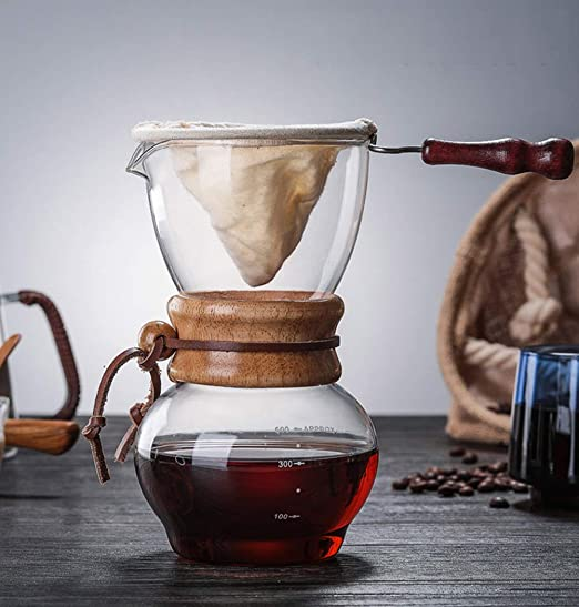 YJF Cafetera clásica Pour Over Coffee Maker Dripper Borosilicate Glass Jarra - con Filtro de Franela Reutilizable 0.5L: Amazon.es: Hogar