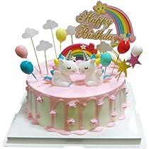 BluVast Cake Topper Unicornio, Decoraciones de Pasteles cumpleaños 29 Piezas para la Fiesta de la Fiesta de Bienvenida al bebé cumpleaños niñas Niños