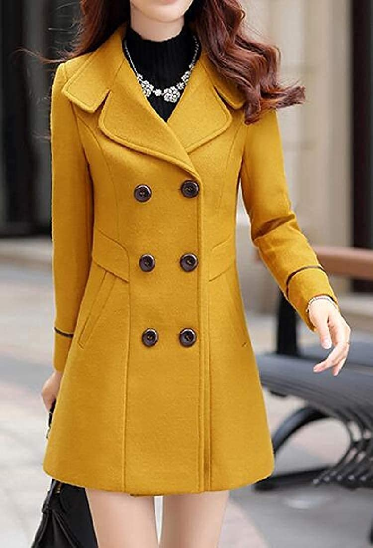 Women's Overcoat Solid Woollen Blend Double Breasted Winter Pea Coat Outerwear Yellow