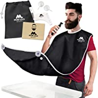 Best Beard Bib for Shaving - The Smart Way to Shave - Beard Trimming Apron 122x81cm - Perfect Grooming Gift or Mens Birthday Gift - Includes Shaping Comb, Bag, and Grooming E-book (Black) by Mobi Lock