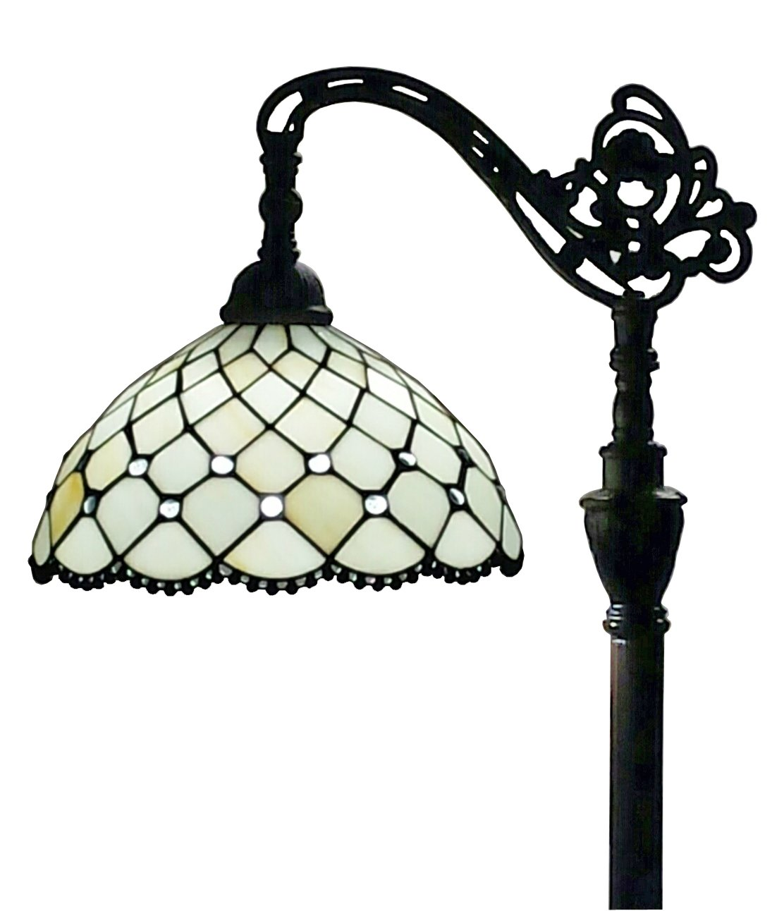 Amora Lighting AM121FL12 Tiffany Style Jewel Reading Lamp Adjustable Shade 62 In