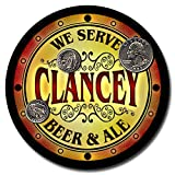 Clancey Family Name Beer and Ale Rubber Drink Coasters - Set of 4