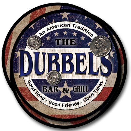 Dubbels Bar&Grill Family Name Neoprene Rubber Coasters - ()