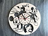 Mickey Mouse Wall Clock Made of WOOD - Perfect and Beautifully Cut - Decorate your Home with MODERN ART - UNIQUE GIFT for Him and Her - Size 12 Inches
