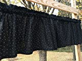 Cheap Black & Small White Polka Dots on Black Handcrafted Curtain Valance