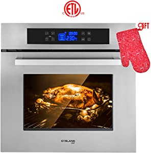 "Wall Oven, Gasland chef ES611TS 24"" Built-in Single Wall Oven, 11 Cooking Function, Stainless Steel Frame With American Black Glass Electric Wall Oven, ETL Safety Certified & Full Touch Control"