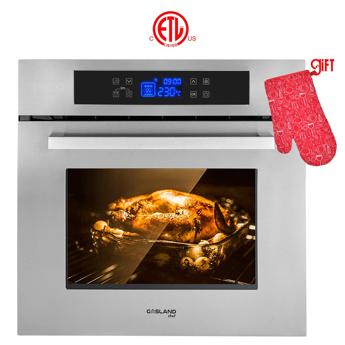 Wall Oven, Gasland Chef ES611TS 24'' Built-in Single Wall Oven, 11 Cooking Function, Stainless Steel Frame with American Black Glass Electric Wall Oven, ETL Safety Certified & Full Touch Control by GASLAND