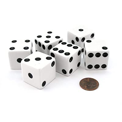 Set of 6 D6 25mm Large Opaque Jumbo Dice - White with Black Pip by Koplow Games: Toys & Games