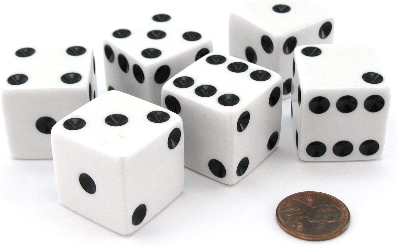 Set of 6 D6 25mm Large Opaque Jumbo Dice - White with Black Pip by Koplow Games