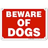 "Beware of Dogs Warning Sign - Avoid Dog Bites - 7""x10"" - .040 Rust Free Heavy Duty Aluminum - Made in USA - UV Protected and Weatherproof - A81-275AL"