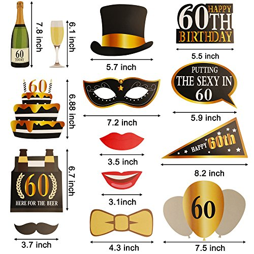 Amazon KissDate 24Pcs 60th Birthday Photo Booth Props Funny DIY Kit For Men Women Party Supplies Decoration And Favors Black Gold
