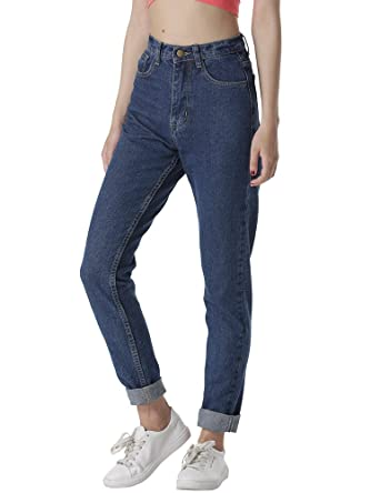 c3c3e1f5f5 cunlin High Waist Jeans for Women Denim Pants Mom Jeans High Waisted Jeans  Blue 25 L28