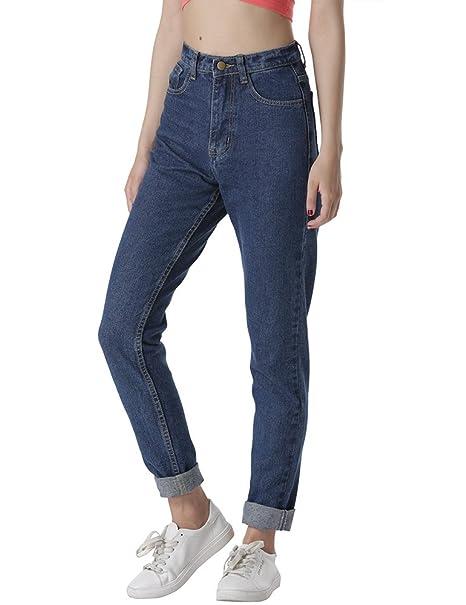 Amazon.com: cunlin pantalones vaqueros de cintura alta para ...