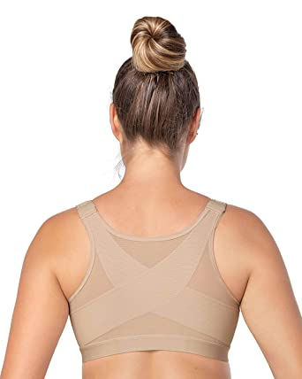 Leonisa Perfect Back Support Posture Corrector Brace Wireless Bra For Women  With Adjustable Front Closure Beige 8558e924c