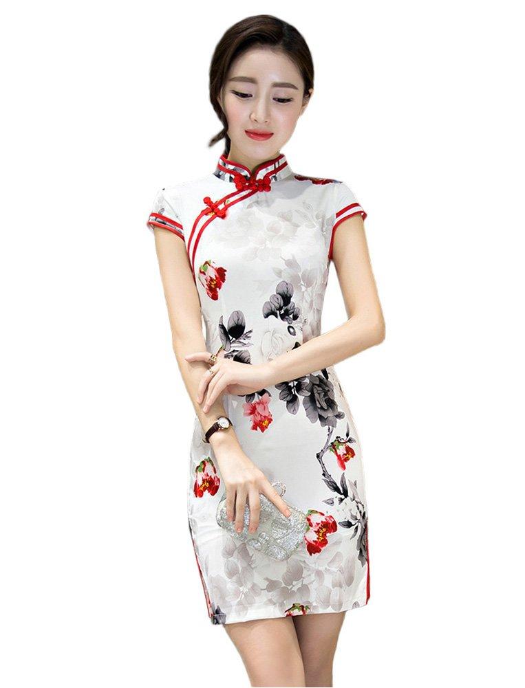 Summer Style Women's Slim Fit Cheongsam Flowers Chinese Dress Modified Short Qipao (XXL)