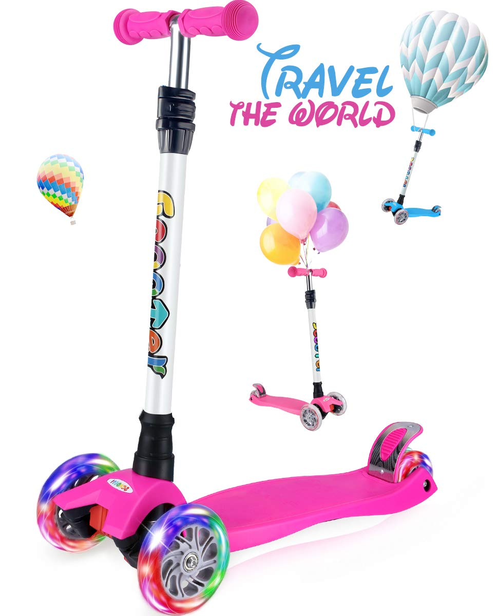 OUTON Scooter for Kids 3 Wheel Kick Scooter for Toddler Girls Boys, Lean to Steer, 4 Adjustable Height, Light Up Wheels for Children Age 3-14 (Rose Pink) by OUTON