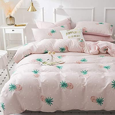 Girls Cotton Bedding Sets Full Queen Green Pink Pineapple Duvet Cover Sets, Shabby Chic Dots Geometric Bedding Collections for Kid Teens, Breathable Soft Hotel Quality Girls Comforter Cover Sets: Home & Kitchen